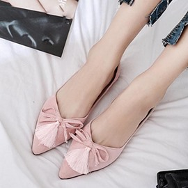 Ericdress Tassel Slip-On Plain Flats with Bowknot