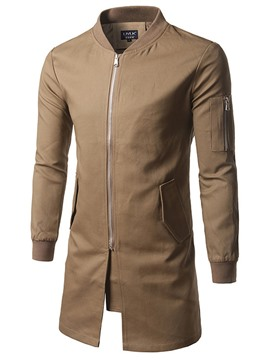 Ericdress Plain Mid-Length Stand Collar Zip Men's Trench Coat