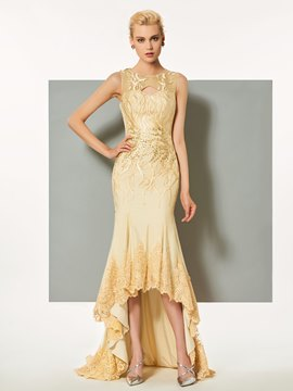 Ericdress Sheath Applique Lace High Low Asymmetry Evening Dress