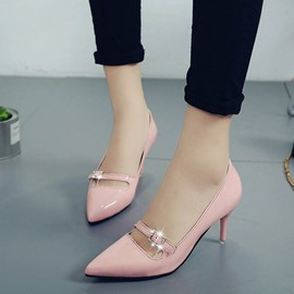 Ericdress Rhinestone Low-Cut Plain Stiletto Heel Pumps with Buckle