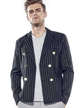 Ericdress Double-Breasted Stripe Casual Men's Blazer