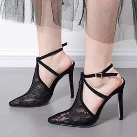 Ericdress Mesh Closed Toe Plain Stiletto Sandals