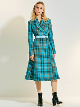 Ericdress gekerbt Revers Plaid langen Mantel