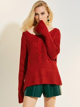 Ericdress Scoop Plain Pullover Flare Sleeve Knitwear
