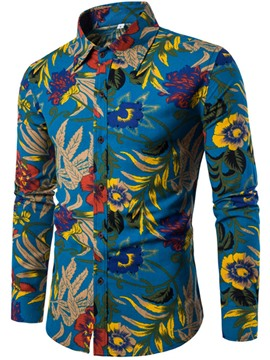 Ericdress Ethnic Style Slim Print Linen Long Sleeve Men's Shirt