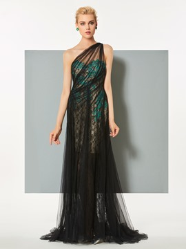 Ericdress A Line One Shoulder Applique Tulle Long Evening Dress