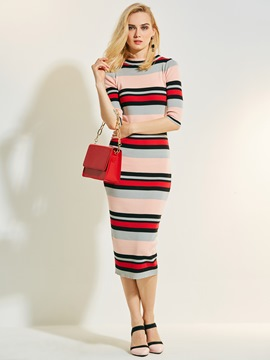 Ericdress Color Block Stripe Scoop Sweater Dress