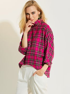 Ericdress High Neck Plaid Mid-Length Blouse
