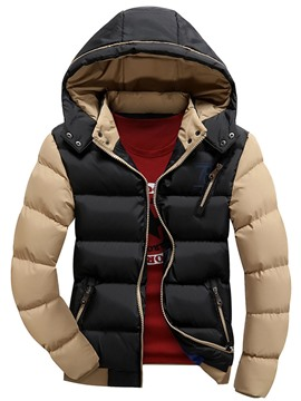 Ericdress Color Block Detachable Hood Thicken Warm Casual Men's Coat