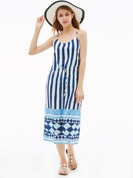 Spaghetti Strap Color Block Stripe Women's Day Dress