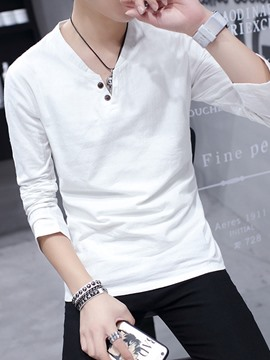Ericdress Solid Color Cotton Linen Thin Slim Fit Men's Casual T-Shirt
