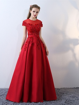 Ericdress A-Line Cap Sleeves Beaded Flowers Evening Dress