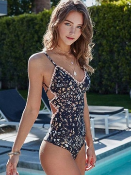 Ericdress V-Neck Floral Backless Monokini