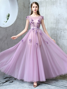Ericdress A Line Cap Sleeve Beaded Applique Long Evening Dress