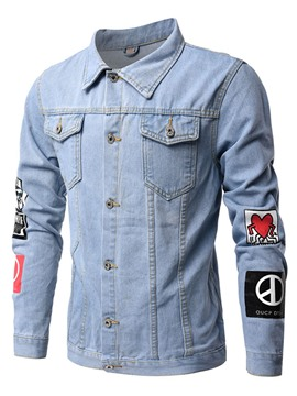 Ericdress Pocket Casual Print Denim Men's Jacket
