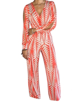 Ericdress Long Sleeve Print V-Neck Jumpsuits Pants