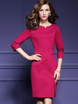 Ericdress Scoop Solid Color 3/4 Sleeve Bodycon Dress