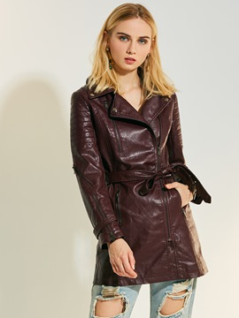 Ericdress Lapel Plain Mid-Length PU Jacket