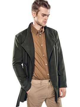 Ericdress Solid Color Lapel Belt Double-Breasted Men's Woolen Coat