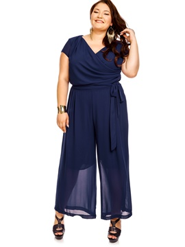 Ericdress Plain Plus Size Wide Legs Women's Jumpsuit