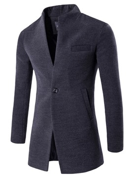 Ericdress Midi Pattern Stand Collar One Button Wool Classic Plain Slim Men's Coat