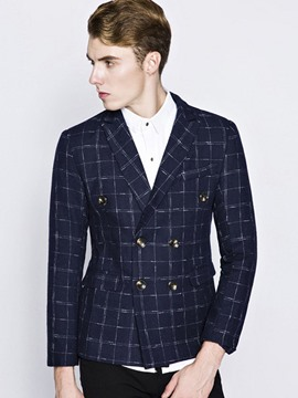 Ericdress Double-Breasted Woolen Plaid Men's Blazer