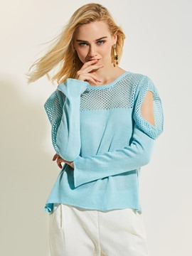 Ericdress Pullover Cold Shoulder Hollow Knitwear