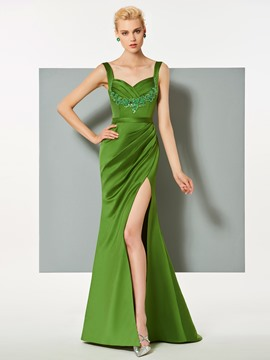 Ericdress Straps Applique Pleats Mermaid Evening Dress With Side Slit