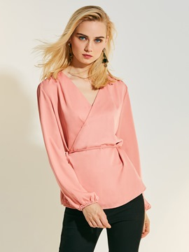 Ericdress Solid Color V-Neck Chiffon Blouse