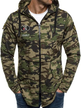 Eridress Camouflage Hooded Zip Cotton Slim Men's Jacket