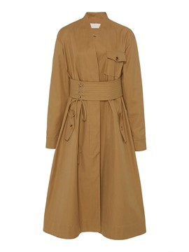 Ercdress Long Plain Pocket Belt Trench Coat