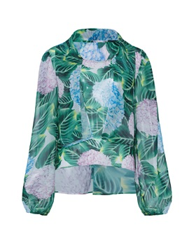 Ericdress Slim Plus-Size Print Floral Blouse