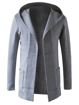 Ericdress Plain Hood Cardigan Casual Men's Knitwear
