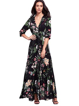 Ericdress V-Neck Single-Breasted Expansion Maxi Dress