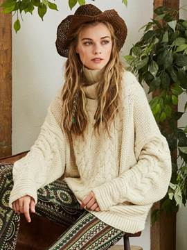 Ericdress High Neck Plain Loose Knitwear
