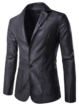 Ericdress Notched Collar One Button Solid Color Men's PU Blazer
