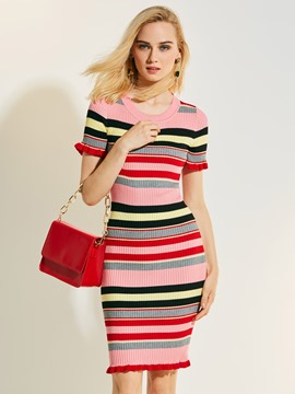 Ericdress Color Block Stripe Short Sleeve Sweater Dress