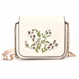 Ericdress Floral Embroidered Chain Crossbody Bag