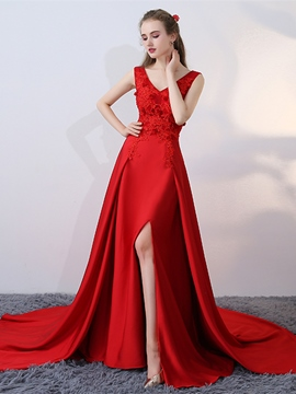 Ericdress A-Line Appliques Split-Front Court Train Evening Dress