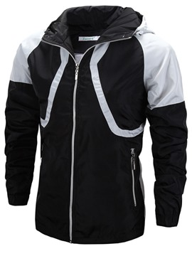 Ericdress Hooded Patchwork Zipper Waterproof Windproof Outdoor Men's Jacket