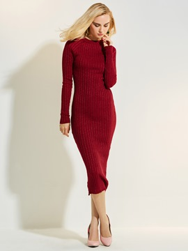 Ericdress Round Neck Solid Color Sweater Dress