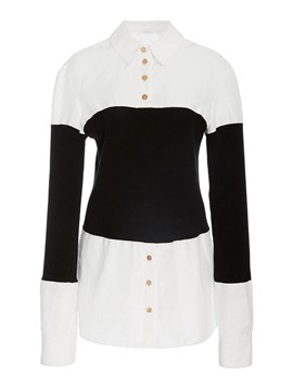 Ericdress Polo Neck Single-Breasted Color Block Blouse