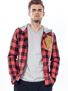 Ericdress Patched Hood Plaid Casual Men's Jacket
