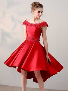 Ericdress A-Line Appliques Beading Asymmetry Homecoming Dress