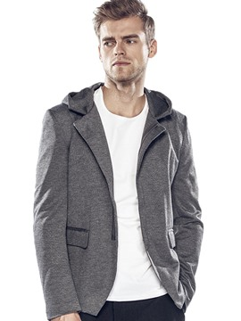 Ericdress Plain Hood Zip Vogue Casual Men's Blazer