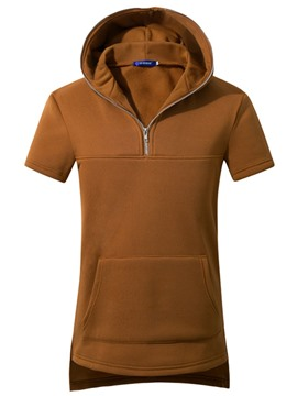 Ericdress Plain Zip Patched Short Sleeve Pullover Men's Hoodie