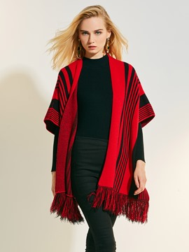 Ericdress Wrapped Stripe Color Block Tassel Cape