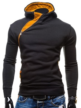 Ericdress Oblique Zip Casual Slim Men's Hoodie