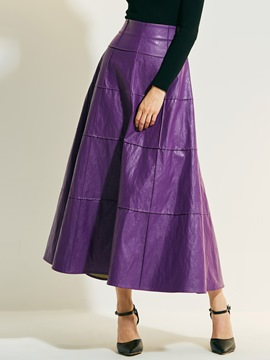High-Waist Pure Color Ankle-Length Skirts