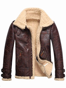 Ericdress Faux Shearling Thicken Warm Men's PU Coat